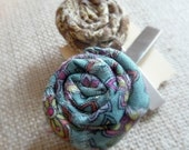 2 Rustic Fabric Flower Hair Clips, Alligator Hair Clips, Small Rose Hair Accessory, Hair Clip Set, Blue and Brown Hair Clips, Primitive Rose