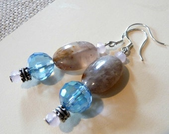 Polished Agate Stone And Pale Blue Crystal Earrings, Nickel-Free Ear Wires, Natural Stone Jewelry, Mother's Day Gift, OOAK Jewelry,