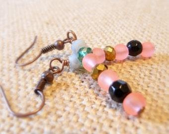 Coral Glass Bead and Copper Dangle Earrings, Small Earrings, Summer Jewelry, Light Earrings, Copper Jewelry, Boho Beach Style Earrings