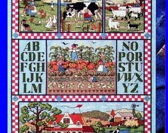 Vintage Cross Stitch TripTych Patterns * AUTUMN FARM Animals PUMPKIN Patch Scarecrow Folk Art - 1989 Cross Stitch & Country Crafts Magazines