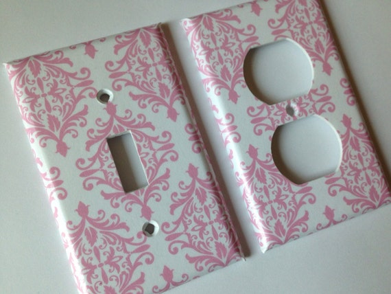 Pink and White Damask Single Light Switch Plate Cover Set / Pink White Nursery Decor / Chic Nursery Decor / Custom Baby Shower Gift