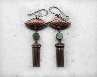 Copper Earrings, Rustic, Boho Earrings, Fringe, Beaded, Beadwork, Dangles, Long, Bohemian Earrings