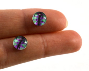 8mm Teal and Purple Glass Dragon Eye Cabochons - Evil Eyes for Doll or Jewelry Making - Set of 2