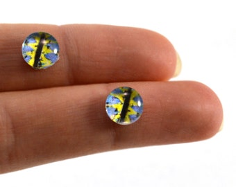 8mm Blue and Yellow Glass Dragon Eye Cabochons - Evil Eyes for Doll or Jewelry Making - Set of 2