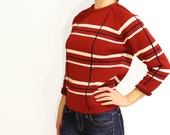 SALE 60s apres ski virgin wool, thick nordic knit striped sweater, size s/m