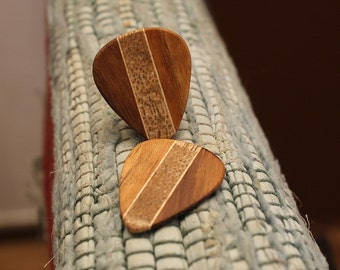 2 Wood guitar picks set Koa, Mango & Maple hand made ukulele
