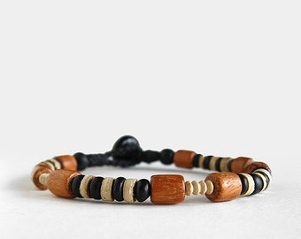 Mens wood bracelet, beaded, bayong, surf, clay, corozo button clasp