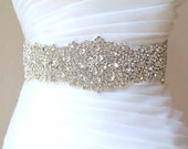 "Bridal beaded luxury crystal sash. Wide wedding couture rhinestone belt. VINTAGE CRYSTAL DELUXE. 27"""