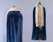 1920s Coat / Blue Velet and Ermine Deco Flapper Cape