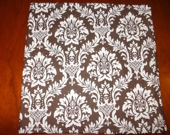 """Dinner Napkins, 4 Brown """"Flock"""" Cotton Napkins...Large...17 inches...Stitched Hems NOT Serged...FREE SHIPPING"""