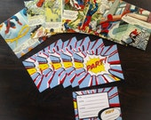 6 Party invites with Comic Book envelopes / recycled comic / upcycled Comic / birthday party invite