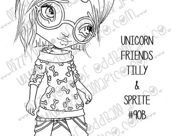 Digi Stamp Digital Instant Download Geeky Big Eye Pastel Goth Unicorn Girl w/ Glasses N Unicorn Kitten Image No. 90 & 90B by Lizzy Love