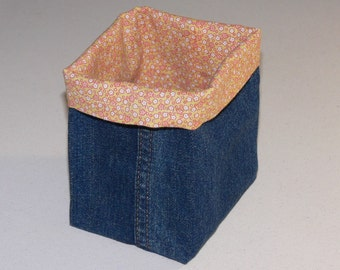 Upcycled Denim Basket / Bin / Organizer / Multipurpose