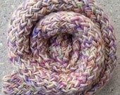 Scarf - Handknit Twisted and Garter Stitch ~ Wool and Acrylic ~ Spring Colors Green, Purple, Blue, and Tan  - Thick, Fall and Winter Wear
