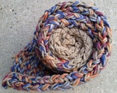 Scarf - Handknit, Twisted and Garter Stitch ~ Wool and Acrylic ~ Blue, Red, Orange, White and Tan  - Thick, Fall and Winter Wear, OOAK