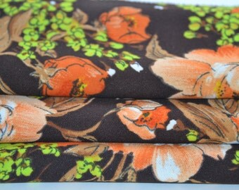 Vintage Brown and Orange Floral Polyester Fabric  1 3/4 yards