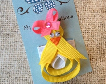 Itty Bitty Spring Chick-Ribbon Sculpture Hair Clip-Baby Snap Clip-Infant Toddler-Fine Hair