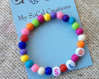 Colorful Gumball Bead Initials Bracelet-Stretch Bracelet-Bright Colors