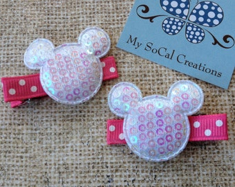 Mickey/Minnie Mouse Inspired Hair Clips Set/Sequin Mouse Ears/No Slip Hiar Clips/Iridescent White