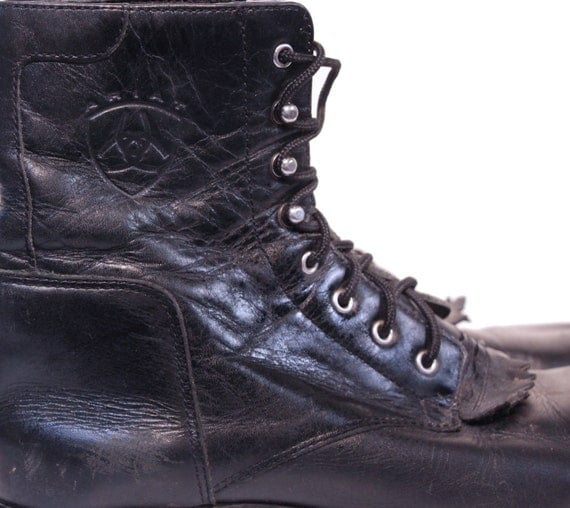 Black Kiltie Lacer Boots Leather Ankle Ariat Combat Boots