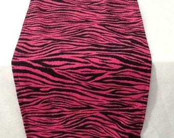 Animal Print Table Runner, Pink and Black Zebra Print, Bridal Shower, Baby Shower, Party, Wedding, Home Decor, Custom Sizes