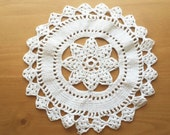 Large Handmade Vintage Doily Table Topper, 8-9 inch