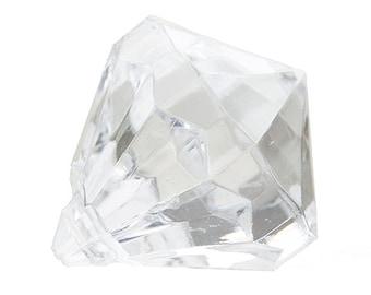 10 Clear Bling DIAMOND Pendants X-SMALL Chunky Bead Acrylic Drop Centers H282