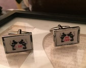 Mickey & Minnie I do Me too RECTANGULAR Silver CUFFLINKS (perfect for Disney Lover)