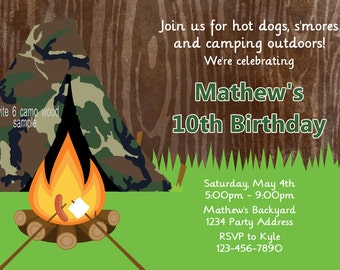 Camping Birthday Invitation - Camouflage Tent - Camp out Birthday Party Invitation - Printable JPEG File File #5-6