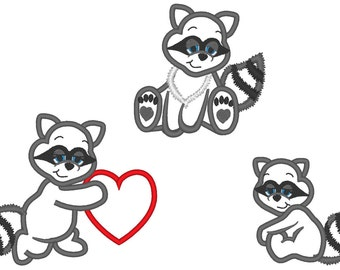 Hearts Stealer Raccoon, cute Raccoons set -  machine embroidery applique designs - 4x4, 5x7, 6x10  INSTANT DOWNLOAD