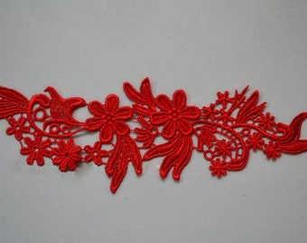 Venice Lace Appliques Red Floral Embroidered Patches For Wedding Supplies Bridal Hair Flower Headpiece 1 Pair