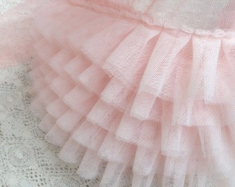 Pink Ruffled Lace Trim 6.69 Inches Wide 1Yard
