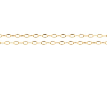 14Kt Gold Filled 2x1mm Drawn Flat Cable Chain - 60ft (20ft x 3) (2344-20)/3