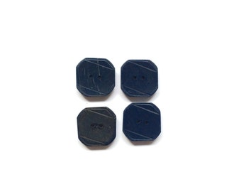 4 Navy Square Buttons