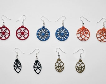 Sacred Geometry Earring Set - 5 Colorful Pairs