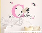 Lamb name decal -baby sheep - Personalized Initial name decal -baby nursery wall decal-  Stars and moon vinyl wall decal - baby lamb decal