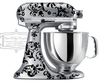 Flourish kitchen mixer decal Swirl mixer decal