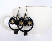 Bicycle Owl Earrings Starry Eyed Brass Bronze & Steel