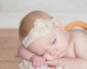 Lace Pearl Baby Headband - Angeline Sparkle Headband - white, ivory lace, pick colors, Headbands, Girls Headband, Flower Girl, Lace Headband