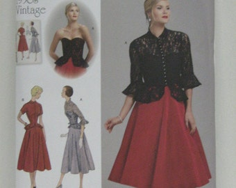 Vintage Style Strapless Dress and Jacket Pattern, Party Holiday Dress, Retro Design 1950s Pattern, Simplicity 1250, SZ 14 through 22