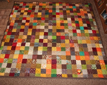 Custom Made ~ Earth Tones Patchwork KING QUILT ~ Everything Supplied!!!
