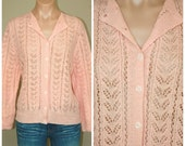 Vintage 50s 60s Lady Wyn Lightweight Made in England Hand Knit Peach Cardigan