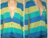 Josephine CHAUS Lime Green Aqua Blue Color Block Striped Sweater Cardigan sz P M