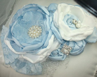 New Baby Blue and White Flower Headband, Eater Headband, Baby Headband, Accessories, Rosette Headband