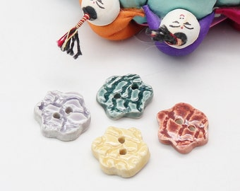 Four Handmade Buttons, Flower Pottery Buttons, Colorful Buttons