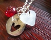 Scottish Sea Glass Heart Valentines Day Gift Love Reversible Necklace Red White and Silver Tone Scottish Wedding