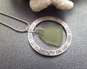 Inspirational Necklace Circle Pendant with Green Scottish Sea Glass, Gift from Scotland, Love Dream Hope Trust