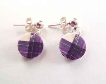 Scottish Clan Tartan Earrings in Purple Plastic Petite Tiny Posts Highland Dance Country Dance