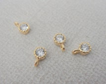 Jewelry Supplies, Gold Cubic zirconium crystal drop, Charm, Pendant, 4 pc,  PS7374