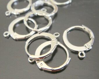 Silver Round Earwires Earring Findings, 4 pc, K815847